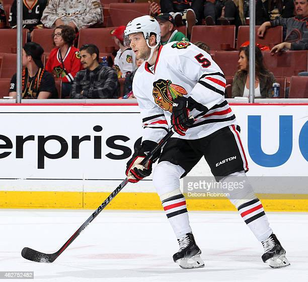 David Rundblad of the Chicago Blackhawks handles the puck against the Anaheim Ducks on January 30 2015 at Honda Center in Anaheim California