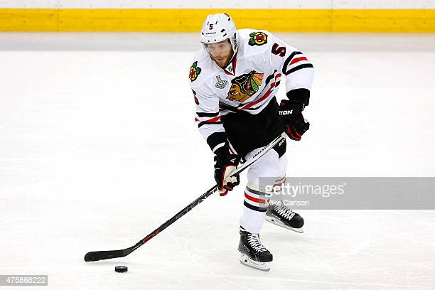 David Rundblad of the Chicago Blackhawks in action against the Tampa Bay Lightning during Game One of the 2015 NHL Stanley Cup Final at Amalie Arena...