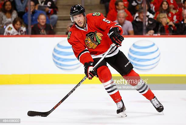 David Rundblad of the Chicago Blackhawks plays in the game against the New York Rangers at the United Center on October 7 2015 in Chicago Illinois
