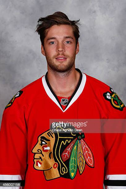 David Rundblad of the Chicago Blackhawks poses for his official headshot for the 20142015 season on September 18 2014 at the United Center in Chicago...