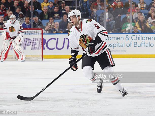 David Rundblad of the Chicago Blackhawks skates against the Buffalo Sabres at First Niagara Center on March 9 2014 in Buffalo New York