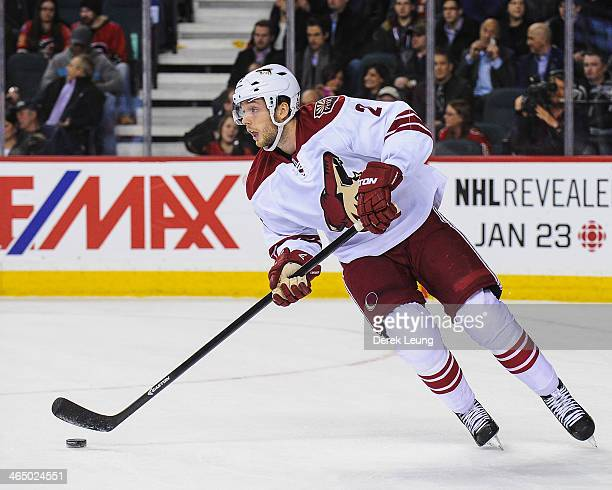 David Rundblad of the Phoenix Coyotes skates against the Calgary Flames during an NHL game at Scotiabank Saddledome on January 22 2014 in Calgary...