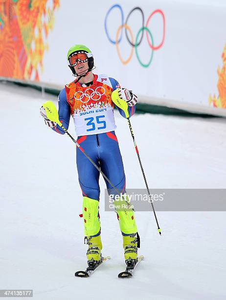 David Ryding of Great Britain after completing his first run during the Men's Slalom during day 15 of the Sochi 2014 Winter Olympics at Rosa Khutor...