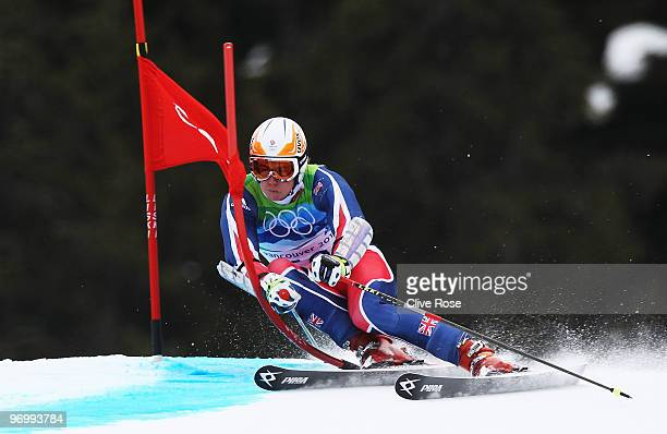 David Ryding of Great Britain competes during the Alpine Skiing Men's Giant Slalom on day 12 of the Vancouver 2010 Winter Olympics at Whistler...