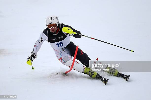 David Ryding of Great Britain competes during the Alpine Slalom during day seven of the Winter Games NZ at Coronet Peak on August 21 2013 in...