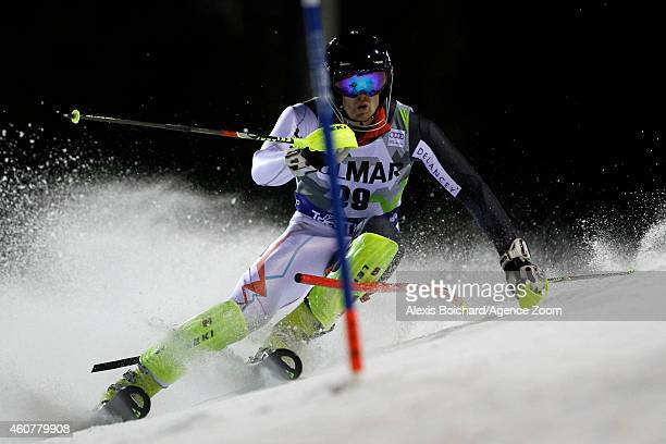 David Ryding of Great Britain competes during the Audi FIS Alpine Ski World Cup Men's Slalom on December 22 2014 in Madonna di Campiglio Italy