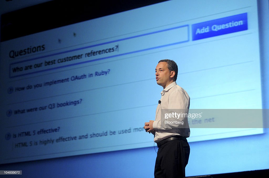 David Sacks, founder and chief executive officer of Yammer, speaks at the TechCrunch Disrupt conference in San Francisco, California, U.S., on Tuesday, Sept. 28, 2010. The conference runs until Sept. 29. Photographer: Noah Berger/Bloomberg via Getty Images
