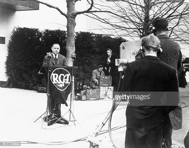 David Sarnoff President of RCA and head of NBC dedicates the RCA pavilion an event covered by the first coverage of television news