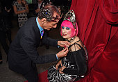 David Sassoon and Dame Zandra Rhodes attend a party to celebrate Zandra Rhodes becoming a Dame at The Fashion and Textile Museum on February 13 2015...