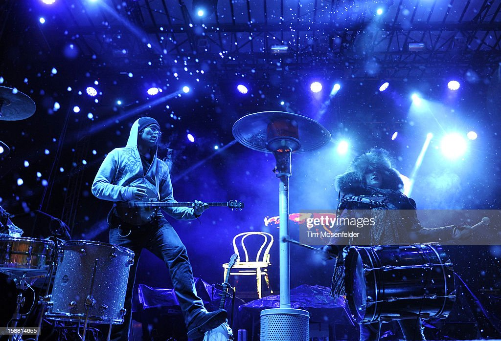 David Satori (L) and Zoe Jakes Beats Antique perform during the Snowglobe Music Festival at Lake Tahoe Community College on December 29, 2012 in South Lake Tahoe, CA.