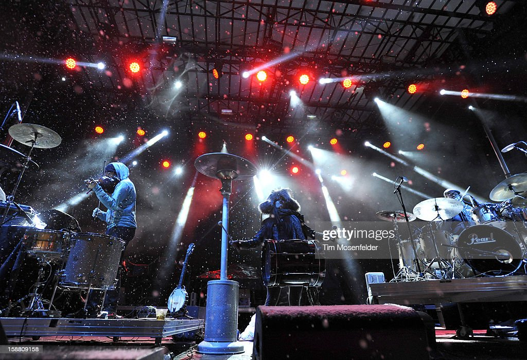 David Satori, Zoe Jakes, and Tommy Cappel of Beats Antique perform during the Snowglobe Music Festival at Lake Tahoe Community College on December 29, 2012 in South Lake Tahoe, CA.