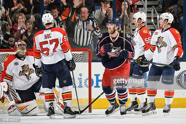 David Savard of the Columbus Blue Jackets celebrates his goal against the Florida Panthers on March 1 2014 at Nationwide Arena in Columbus Ohio