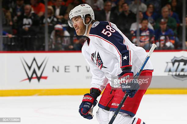 David Savard of the Columbus Blue Jackets celebrates his second period goal during the game against the New York Islanders at the Barclays Center on...