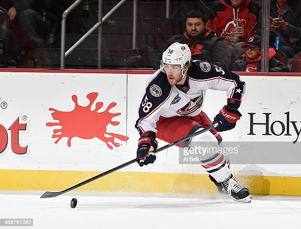 David Savard of the Columbus Blue Jackets in action against the New Jersey Devils during their game at the Prudential Center on November 1 2014 in...