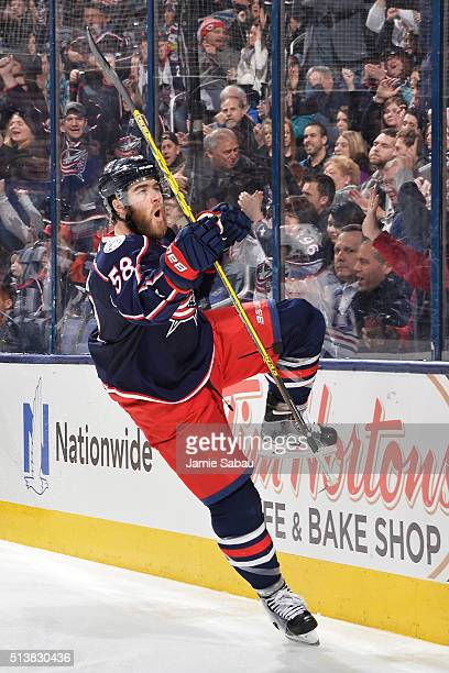 David Savard of the Columbus Blue Jackets reacts after scoring a goal during the third period of a game against the Edmonton Oilers on March 4 2016...
