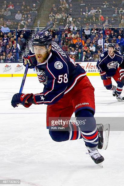 David Savard of the Columbus Blue Jackets skates after the puck during the game against the Arizona Coyotes on November 14 2015 at Nationwide Arena...
