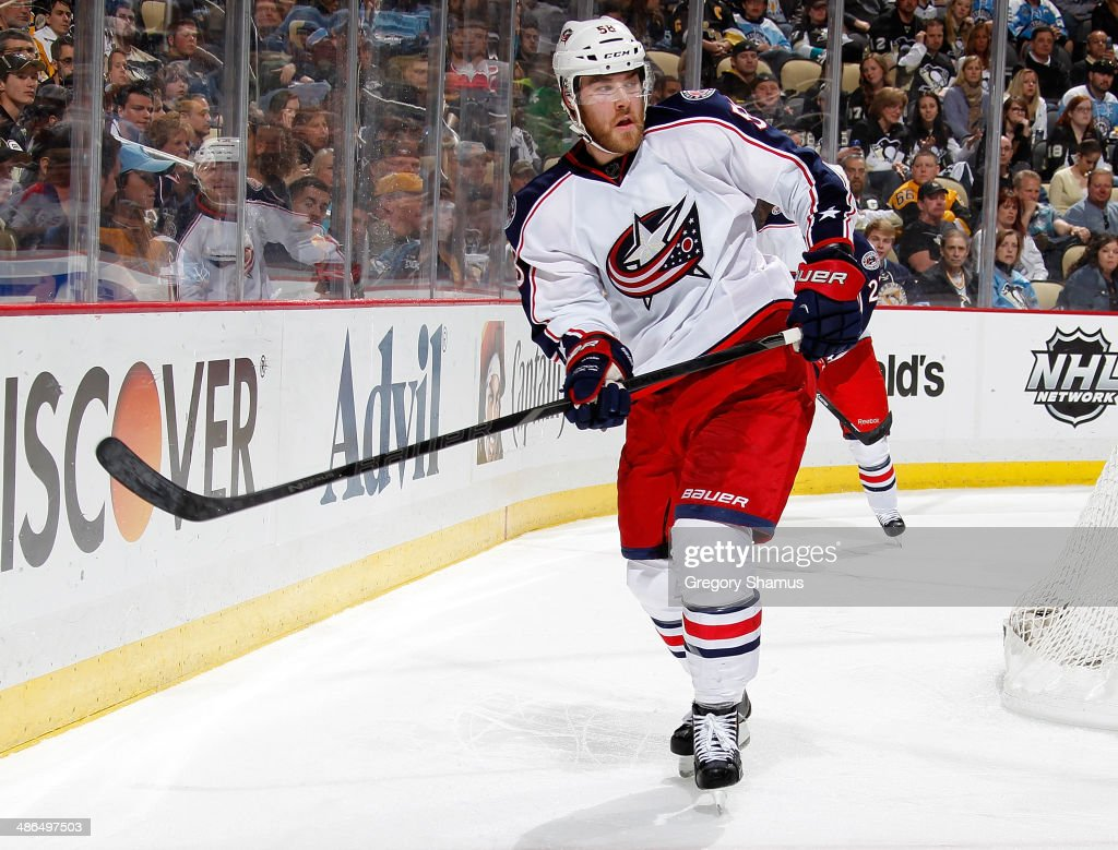 <a gi-track='captionPersonalityLinkClicked' href=/galleries/search?phrase=David+Savard&family=editorial&specificpeople=4630692 ng-click='$event.stopPropagation()'>David Savard</a> #58 of the Columbus Blue Jackets skates against the Columbus Blue Jackets in Game Two of the First Round of the 2014 Stanley Cup Playoffs at Consol Energy Center on April 19, 2014 in Pittsburgh, Pennsylvania.