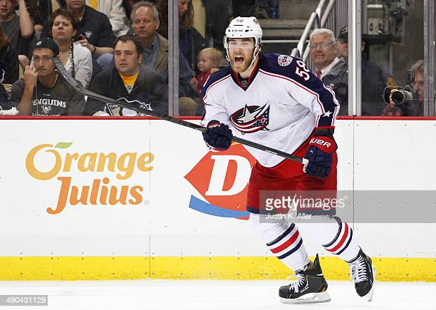 David Savard of the Columbus Blue Jackets skates against the Pittsburgh Penguins in Game Five of the First Round of the 2014 NHL Stanley Cup Playoffs...