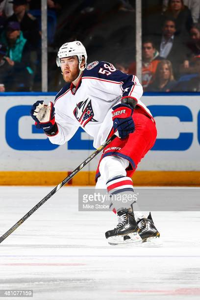 David Savard of the Columbus Blue Jackets skates against the New York Islanders at Nassau Veterans Memorial Coliseum on March 23 2014 in Uniondale...