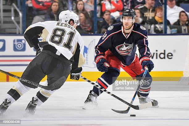 David Savard of the Columbus Blue Jackets skates against the Pittsburgh Penguins on November 27 2015 at Nationwide Arena in Columbus Ohio