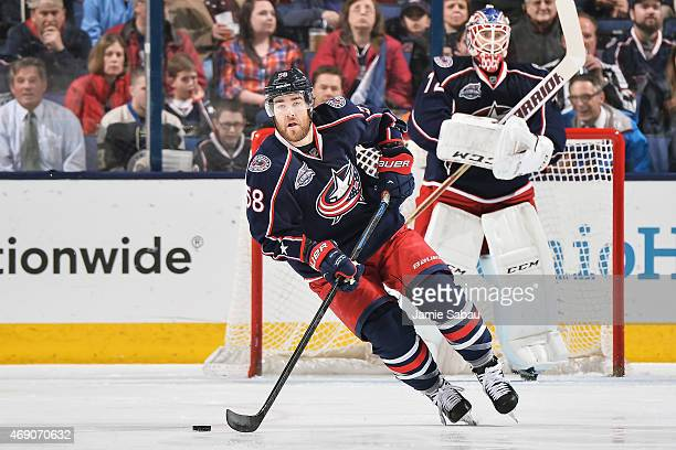 David Savard of the Columbus Blue Jackets skates against the Toronto Maple Leafs on April 8 2015 at Nationwide Arena in Columbus Ohio