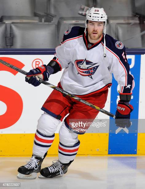 David Savard of the Columbus Blue Jackets skates during warm up prior to NHL game action against the Toronto Maple Leafs March 3 2014 at the Air...