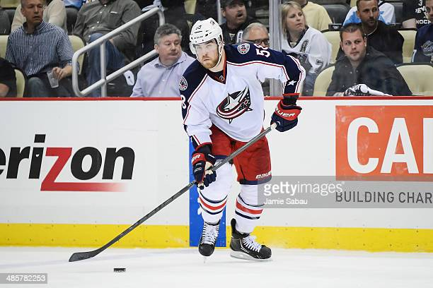 David Savard of the Columbus Blue Jackets skates with the puck against the Pittsburgh Penguins in Game Two of the First Round of the 2014 NHL Stanley...