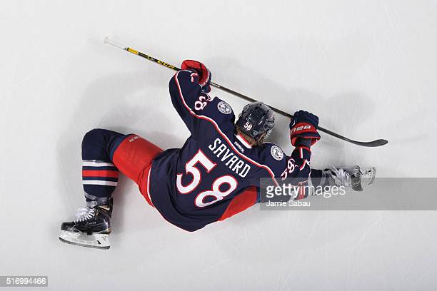 David Savard of the Columbus Blue Jackets stretches prior to a game against the Philadelphia Flyers on March 22 2016 at Nationwide Arena in Columbus...
