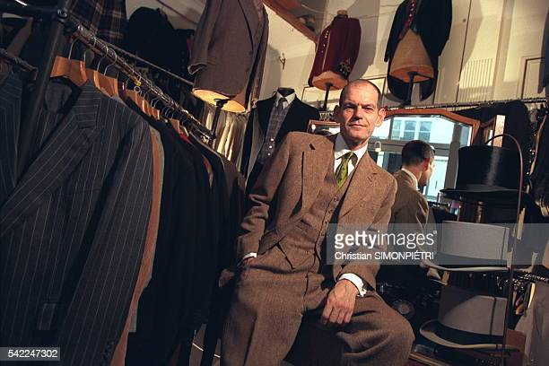 David Saxby owner of the Old Hat shop He is dressed in a 1947 fawn cheviotte wool suit