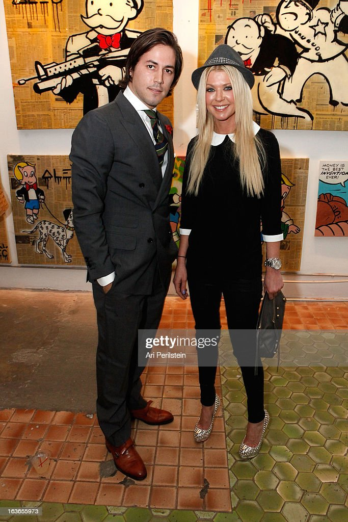 David Schechtmann and Actress <a gi-track='captionPersonalityLinkClicked' href=/galleries/search?phrase=Tara+Reid&family=editorial&specificpeople=202160 ng-click='$event.stopPropagation()'>Tara Reid</a> arrive at Park Place A Solo Show By Alec Monopoly At LAB ART on March 13, 2013 in Los Angeles, California.