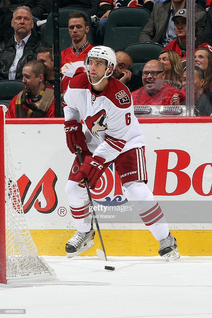 David Schlemko of the Arizona Coyotes skates against the Calgary Flames at Scotiabank Saddledome on December 2 2014 in Calgary Alberta Canada Calgary...