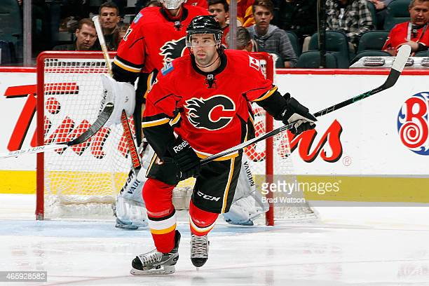 David Schlemko of the Calgary Flames skates against the Anaheim Ducks at Scotiabank Saddledome on March 11 2015 in Calgary Alberta Canada