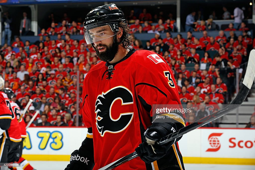 David Schlemko of the Calgary Flames skates against the Anaheim Ducks at Scotiabank Saddledome for Game Three of the Western Quarterfinals during the...
