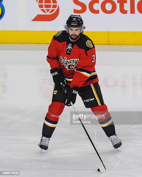 David Schlemko of the Calgary Flames skates against the Arizona Coyotes during an NHL game at Scotiabank Saddledome on April 7 2015 in Calgary...