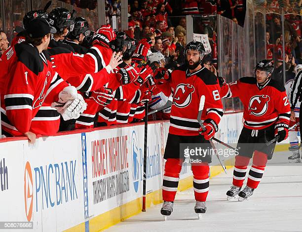 David Schlemko of the New Jersey Devils celebrates scoring the go ahead goal against the New York Rangers during their game at the Prudential Center...