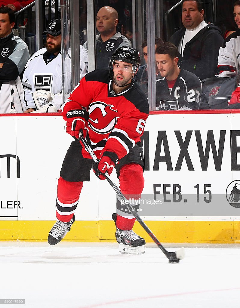 David Schlemko #8 of the New Jersey Devils controls the puck in the second-period during the game against the Los Angeles Kings at the Prudential Center on February 14, 2016 in Newark, New Jersey.