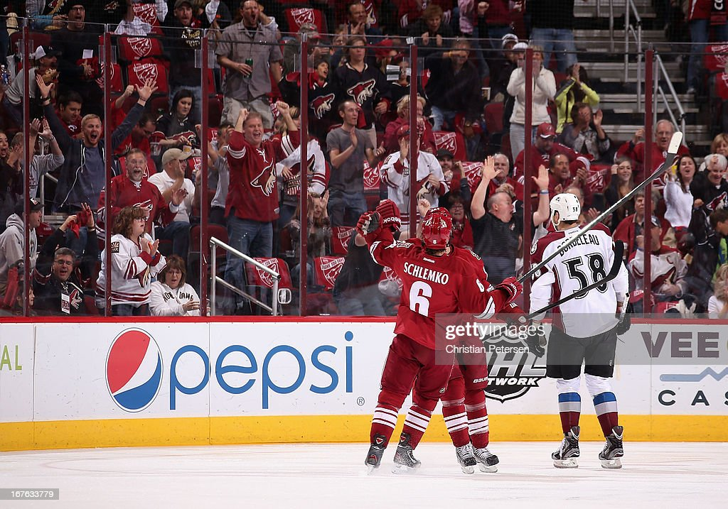 <a gi-track='captionPersonalityLinkClicked' href=/galleries/search?phrase=David+Schlemko&family=editorial&specificpeople=3144738 ng-click='$event.stopPropagation()'>David Schlemko</a> #6 of the Phoenix Coyotes celebrates after scoring a first period goal against the Colorado Avalanche during the NHL game at Jobing.com Arena on April 26, 2013 in Glendale, Arizona. The Avalanche defeated the Coyotes 5-4 in an overtime shoot-out.