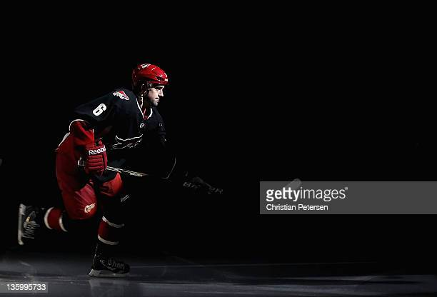 David Schlemko of the Phoenix Coyotes skates out onto the ice before the NHL game against the Edmonton Oilers at Jobingcom Arena on December 15 2011...