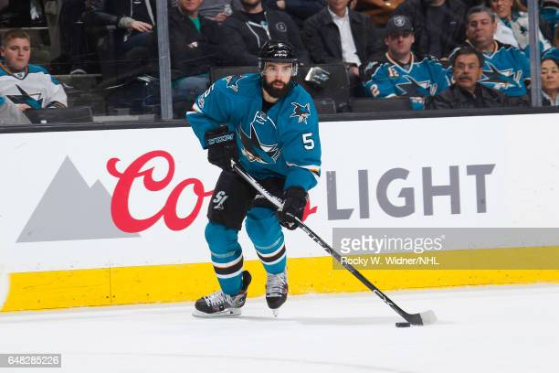 David Schlemko of the San Jose Sharks skates with the puck against the Toronto Maple Leafs at SAP Center on February 28 2017 in San Jose California