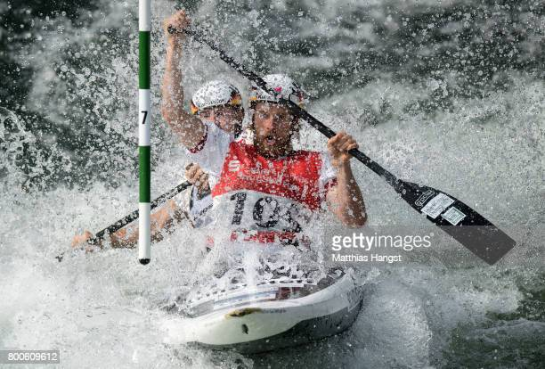 David Schroeder and Nico Bettge of Germany compete during the Canoe Double Men's Semifinal of the ICF Canoe Slalom World Cup on June 24 2017 in...