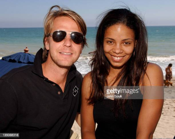 David Schulte CoOwner of Lotto and Sanaa Lathan during LOTTO World Cup Viewing Party at Polaroid Beach House at Polaroid Beach House in Malibu CA...