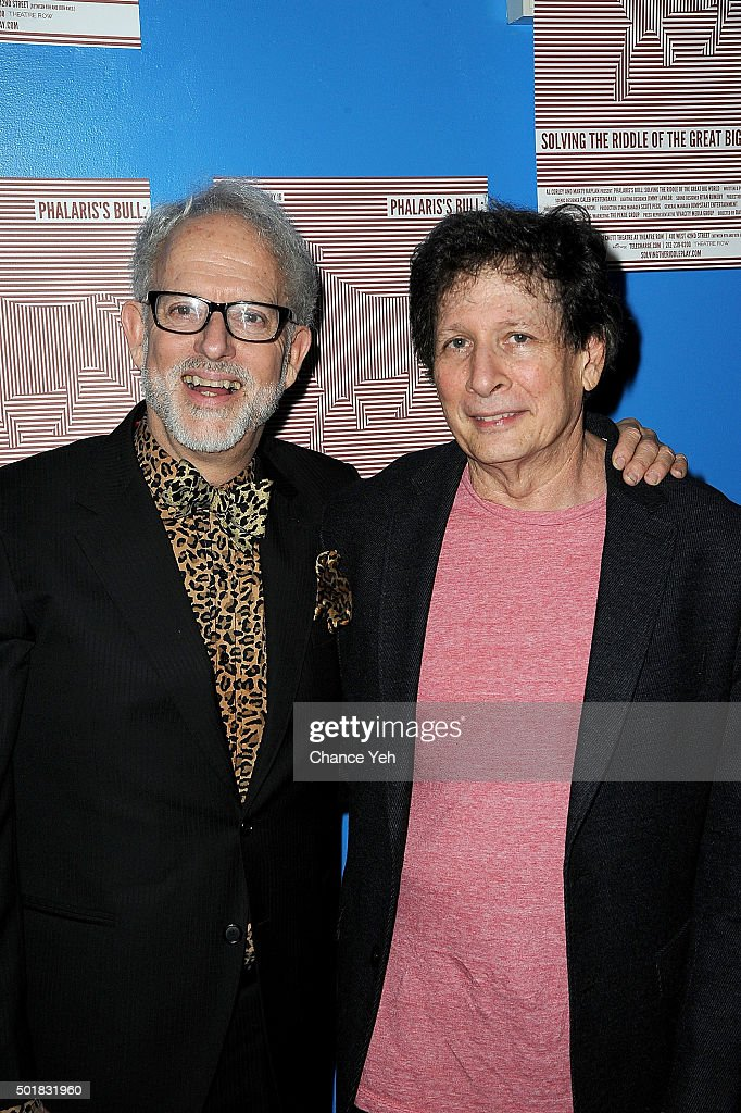 David Schweizer (L) and Steven Friedman attend 'Phalaris's Bull: Solving The Riddle Of The Great Big World' opening night at Beckett Theatre on December 17, 2015 in New York City.