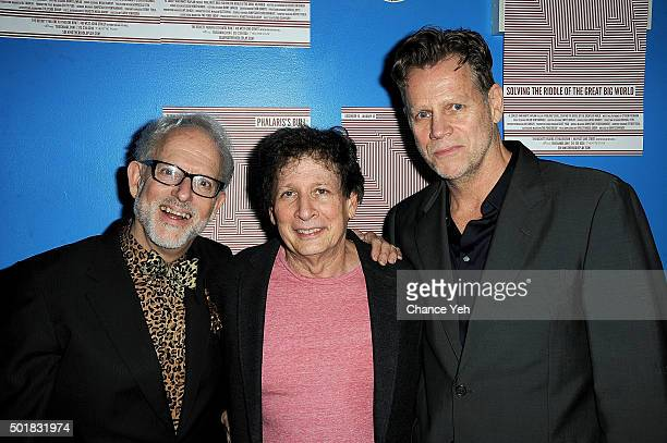 David Schweizer Steven Friedman and Al Corley attend 'Phalaris's Bull Solving The Riddle Of The Great Big World' opening night at Beckett Theatre on...