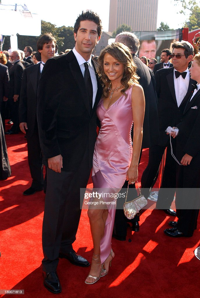 David Schwimmer and Carla Alapont during The 55th Annual Primetime Emmy Awards - Access Hollywood Red Carpet at The Shrine Theater in Los Angeles, California, United States.