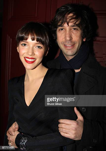 David Schwimmer and fiancee Zoe Buckman pose at the hit play 'Next Fall' on Broadway at The Helen Hayes Theater on March 14 2010 in New York City