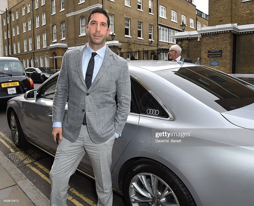 David Shwimmer arrives in an Audi at The Old Vic Summer Gala on June 27, 2016 in London, England.