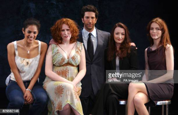David Schwimmer poses with Sara Powell Catherine Tate Lesley Manville and Saffron Burrows