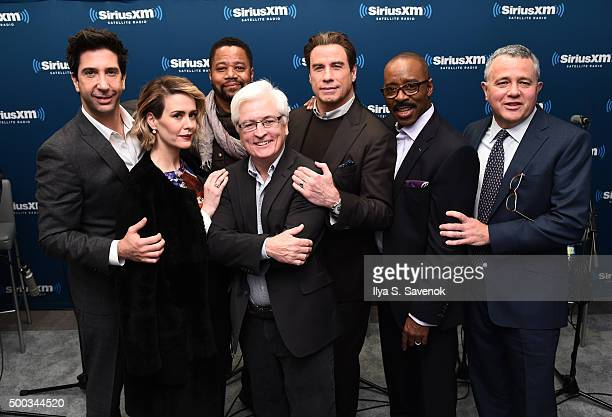 David Schwimmer Sarah Paulson Cuba Gooding Jr John Travolta and Courtney B Vance and Jeffrey Toobin visit the SiriusXM Studios on December 7 2015 in...