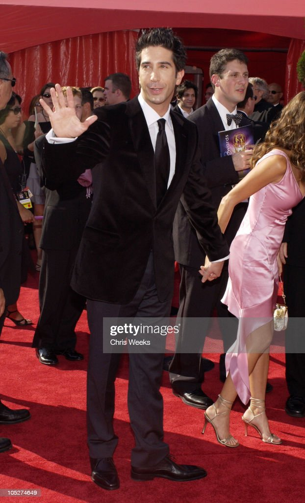 David Schwimmer, wearing Ermenegildo Zegna during 55th Annual Primetime Emmy Awards - Arrivals at The Shrine Auditorium in Los Angeles, California, United States.