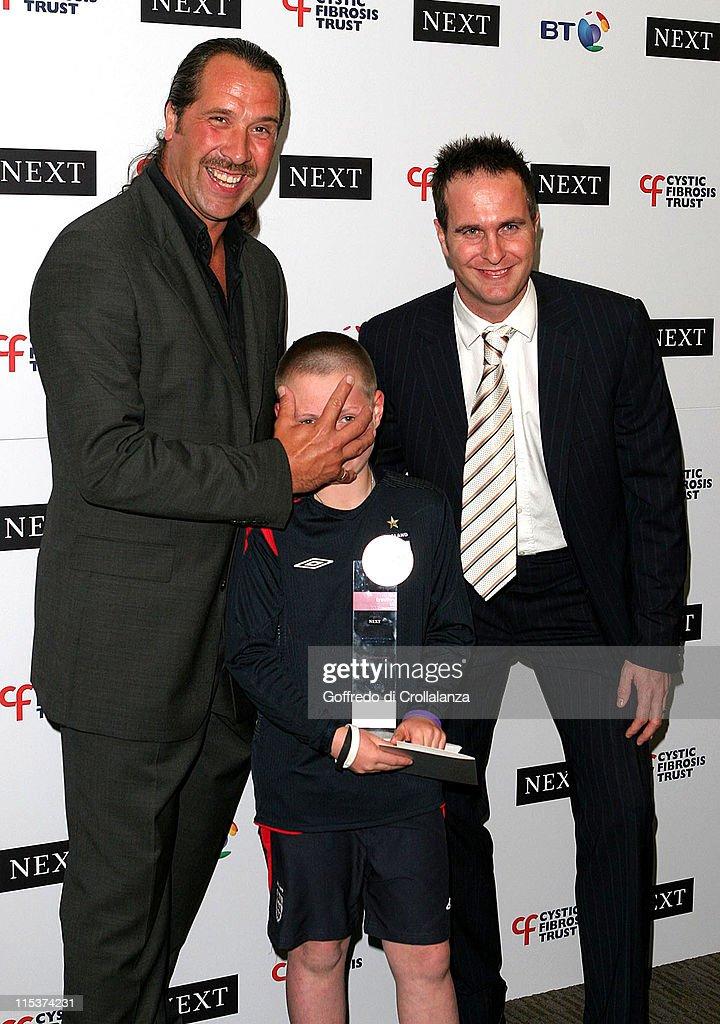 David Seaman and Michael Vaughan during Cystic Fibrosis Breathing Life Awards Press Room at Royal Lancaster Hotel in London Great Britain